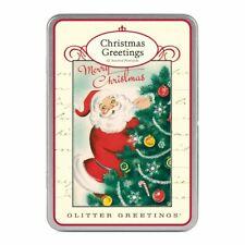 Cavallini-Paillettes Carte Postale - Père Noël - Boîte De 12 / 6 Modèles