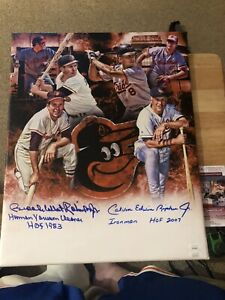 Cal Ripken Jr. & Brooks Robinson Full Name 16x20 Custom Canvas JSA Certified