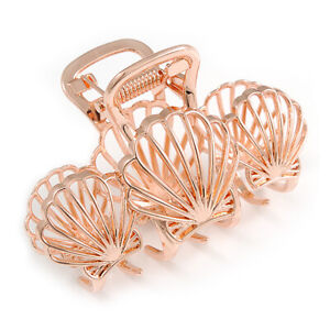 Polished Rose Gold Tone Shell Design Hair Claw/ Clamp - 75mm Across