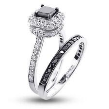 2.75CT Black Princess Cut Diamond Certified Engagement Ring & Band 14K Gold