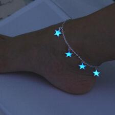 Bracelet Cheville Chaîne Pied Étoiles Fluorescence Lumineux Bague Bijoux Cadeau