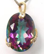 SYJEWELLERY 9CT YELLOW GOLD NATURAL MYSTIC TOPAZ & DIAMOND PENDANT   P937