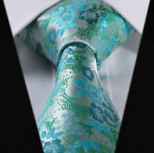 Mens Wedding Tie Teal Turquoise Blue Green Floral Paisley Silk FREE HANKY