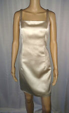 Ann Taylor Dress 6 Tan Ivory Sleeveless Above Knee Length Square Neck Shiny