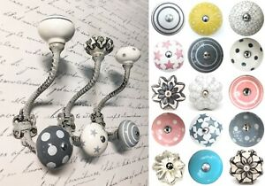 Grey painted shabby chic vintage coat hooks pegs with choice of ceramic knobs