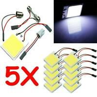 5PCS White 48 SMD COB LED T10 4W 12V Car Interior Panel Light Dome Lamp Bulb NEW