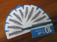 Twenty (20) Lowes 10% for Home Depot only Blue Card Certificate Exp January 2021