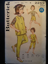 Vintage 60's Butterick 2269  Girl's Sportswear Coordinates, shorts, clamdiggers