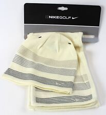 WOMENS NIKE GOLF SCARF/BEANIE SET IVORY/GRAY WINTER SNOW SKII HAT NEW $50 105