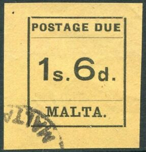 MALTA-1925 1/6 Black/Buff Postage Due.  A fine used example Sg D10