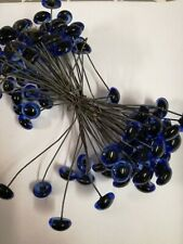 BULK BUY 50 x PAIRS 7/8mm BLUE GLASS TEDDY EYES ON WIRES