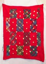 Vintage Doll Quilt Coverlet Red Flannel Plaid Cotton Yarn Flowers As Is