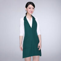 Lady Bib Apron With Collar Pocket Solid Chef Apparel Maid Vest workwear uniform