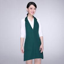 Lady Bib Apron With Collar Pocket Solid Chef Apparel Maid Vest workwear uniform