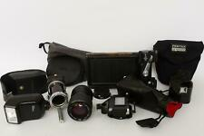 lot of various photographic equipment, lens, bellows, parts