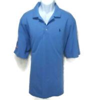 Polo Golf Ralph Lauren Shirt Mens XL 1/4 Button Up Short Sleeve Blue Pima Cotton