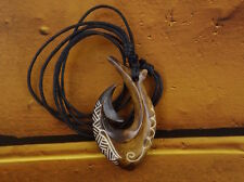 Maori Scrimshaw Fish Hook Necklace, Hei Matau, Hand Carved, Surfer