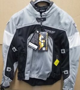 NOS Fly Racing Cool Pro Mesh Jacket Expandable Sides Silver Blk Small 477-4034S