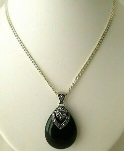 Gorgeous Sterling Silver 925 Curb Chain With Sterling Silver & Agate Pendant