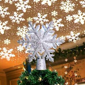3D Glitter Rotating Snowflake Projector For Christmas Tree Topper Decor Lamp