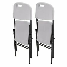 Home party Classic Heavy duty Folding Chair White Granite Pack 2 all weather