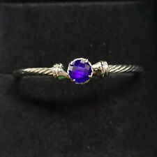 3mm Classic David Yurman  Sterling Silver Cable Bracelet with Amethyst Sz Medium