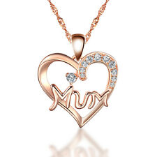 925 Sterling Silver Rose Gold plated Mum Heart Pendant Necklace with 16-20 chain