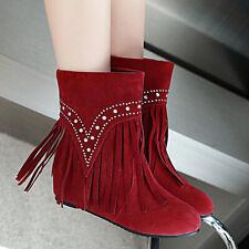 Women's Western Boots Tassel Flat Low Heel Cowboy Winter Chelsea Ankle Booties
