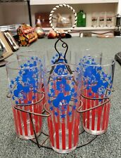 Set of 8 Mid Century Patriotic Cowboy Highball Glasses in Lasso Wire Caddy