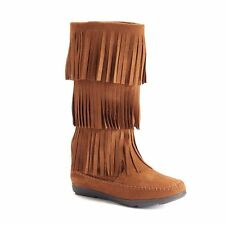 SO Moccasin Boots Fringe Brown 8 Womens Faux Suede Mid Calf NEW