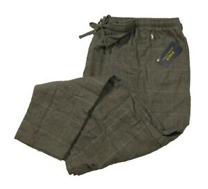 Polo Ralph Lauren Big & Tall Men's Gray Plaid Cotton Flannel Sleep Pants