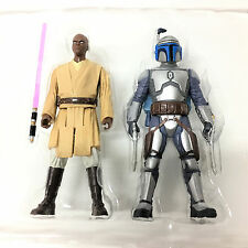 2 Star Wars MACE WINDU & JANGO FETT ATTACK OF THE CLONES 3.75In. Action figure