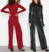 LADIES WOMEN Polo Neck Sparkling Long Sleeve Jumpsuit By Nly Trend