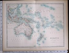 1903 LARGE MAP OCEANIA AUSTRALIA NEW ZEALAND POLYNESIA NEW GUINEA BORNEO JAVA