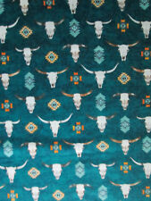 Navajo Steer Bull Cow Heads Feather Diamond Deep Green Cotton Fabric BTHY