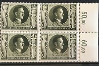 Germany 3rd Reich 1943 Block of 4  Hitler's 54 Birthday  Mi-849 Sc 236 MNH