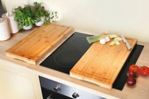 Set of 2 Bamboo Chopping Board Induction Ceramic Hob Cover Worktop Saver