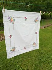 Vintage Linen Embroidered Table Topper Cherries and other fruit