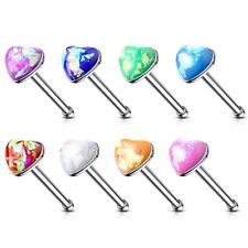 OPALESCENT GLITTER HEART 20G NOSE RING STUD BONE STEEL BODY PIERCING JEWELRY