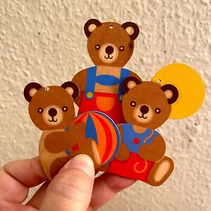 CHRISTBAUMSCHMUCK 3x Teddy: 1980er Hellerkunst 6-8cm Holz Figuren Luftballon Alt