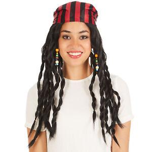 Perücke lange Rasta-Zöpfe schwarz Haarband Pirat Seemann Piraten-Braut Fasching