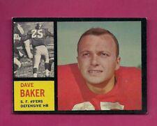 1962 TOPPS # 162 49ERS DAVE BAKER  NRMT  CARD (INV# A5133)