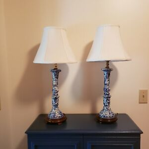 PAIR Vintage Blue & White Chinese Chinoiserie Porcelain Candlestick Table Lamps