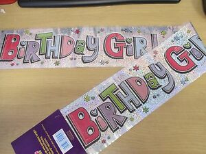 Birthday Girl Banner - PARTY DECORATION - 2.6m - Holographic