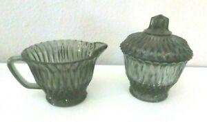 Smokey Black Glass Creamer and Sugar Bowl with Lid
