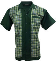 Rockabilly Fashions Men's Shirt Retro Vintage Bowling 1950 1960  Green White
