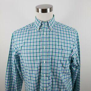 Jos A Bank Mens Cotton Traveler LS Button Up Teal Green Navy Blue Plaid Shirt M