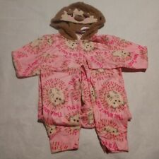 NWT Justice Girls 12 Hedgehog This is How I Roll One Piece Hooded Pajamas PJs