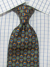 Superb Alta Moda Cervino Black Blue Gold Woven Silk Tie Italy 60 X 4