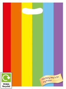 RAINBOW MULTICOLOURED BIRTHDAY PARTY BAGS RECYCLABLE LOOT TREAT FAVOUR GOODY BAG